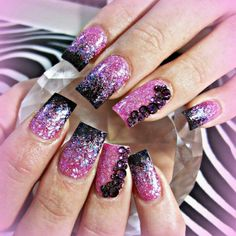 Pink sparkle acrylic nails with swarovski crystals
