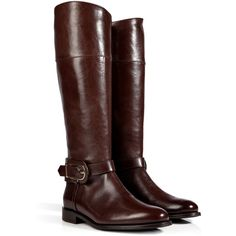 BURBERRY SHOES & ACCESSORIES Leather Winton Riding Boots in Chocolate (11,530 MXN) ❤ liked on Polyvore featuring shoes, boots, botas, footwear, sapatos, equestrian boots, leather equestrian boots, round toe boots, riding boots and low heel leather boots