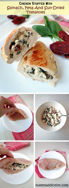 Chicken Breast Stuffed With Feta, Spinach & Sun-Dried Tomatoes | YummyAddiction.com