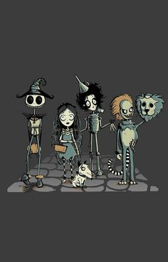 Jack Skellington as Scarecrow Corpse Bride as Dorothy Frankenweenie as Toto Edward Scissorhands as Tin Man Beetlejuice as Cowardly Lion & Tim Burton as The Wizard. Wizard of Oz ROCKS! Arte Tim Burton, Tim Burton Stil, Tim Burton Kunst, Film Tim Burton, Tim Burton Characters, Jack Skellington, Grand Art, Japon Illustration, Edward Scissorhands
