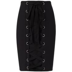 Intermix Women's Gracie Lace-Up Pencil Skirt (€135) ❤ liked on Polyvore featuring skirts, bottoms, saias, black, pencil skirts, zipper skirt, zip skirt, lined skirt, cotton knee length skirt and lace up pencil skirt