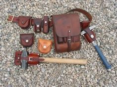Geologists utility belt. Leathergoods from Gfeller Casemakers. Fantastic stuff, made in US.