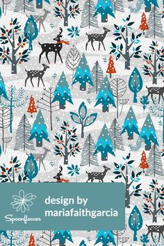 Winter Snow Woodland Animals by mariafaithgarcia - Illustrated winter scene with snow flakes on fabric, wallpaper, and gift wrap. Blue, orange, brown, white, and teal winter scene with deer and winter trees. Perfect for home decor, blankets and winter scarves. #winter #snow #snowflakes #illustration #fabric #wallpaper #ski