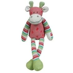 """Maison Chic Giraffe Coral 12"""" Musical Toy by Maison Chic. $19.99. From the Manufacturer                12"""" musical long legged coral cuddly knit giraffe with striped legs and arms that plays braham's lullaby when you pull the tail.                                    Product Description                12-inch-musical-giraffe"""