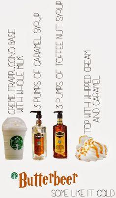 Winter Butterbeer Harry Potter Starbucks Secret Menu Cold Holiday Drinks.