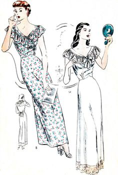 1940s Lingerie Pattern Vogue 5089 Long Ruffled Nightgown Womens Vintage Sewing Pattern Bust 32 - 34