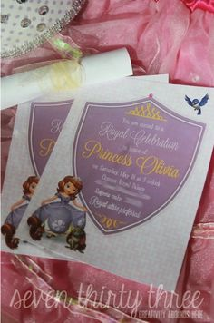 seven thirty three – - – a creative blog: Sofia the First Birthday Party Invites