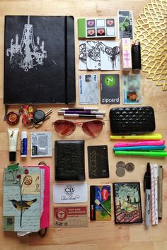 """Inside my bag - sketchbook, my little """"everything"""" book, my business cards, urban decay, juicy couture, vivienne westwood, w hotel, utrecht card, highlighters <3"""