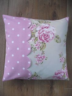 Handmade Cushion Cover in Flora Dotty Rose and by BreifneCottage, £15.00