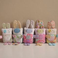 bunny softies! so cute!!...Please, Repin, Like & Comment.