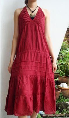 Maxi V Neck Rose Red Cotton Dress. $41.00, via Etsy.