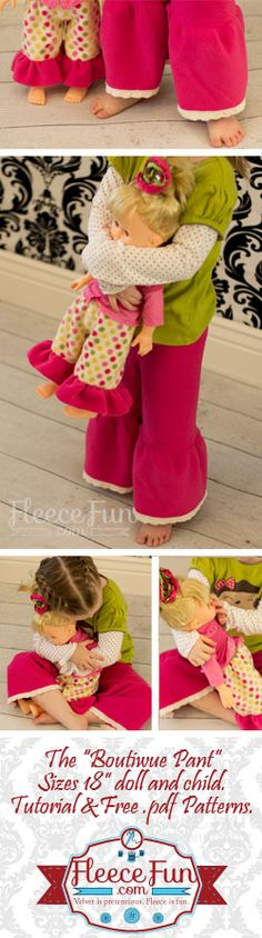 You can make adorable boutique style pants for your little one and her American Girl Doll (works with 18 inch dolls) Free pattern and easy to follow tutorial.