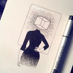 """#inktober day 24, Surrealist realist. This one is supposed to be the opposite counterpart of my """"jumbled thoughts"""" drawing. She is more collected, reasonable and is a logical thinker unlike her sister. . . . . . #fineliner #dailyart #illustration #drawing #sketch #doodle #ink #inktober2016 #dailysketch #dailydrawing #traditional #traditionalart #surrealism #popsurrealism"""