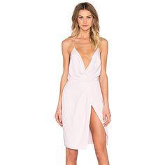 STYLESTALKER Priscilla Wrap Dress Dresses (605 RON) ❤ liked on Polyvore featuring dresses, stylestalker, wrap dress, pleated dress, wrap front dress and stylestalker dress