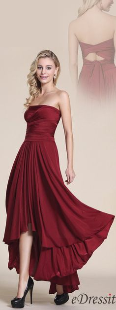Convertible Strapless Bridesmaid Dress High Low