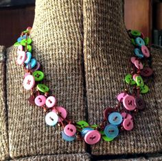 Beads And Buttons Necklace #howto #tutorial