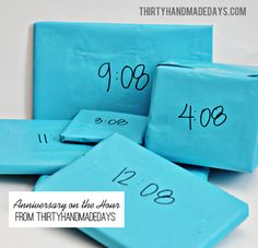 """A boyfriend gift for every hour! For our 8th anniversary I sent him with a bag full of gifts, one for every hour """"on the :08.""""  So 8:08am he opened #1, 9:08am he opened #2, etc.  That year he happened to be coaching flag football for our nephews so most of the gifts had to do with that: a coach clipboard, whistle, Gatorade holders, etc.   They don't have to be huge presents- it's just fun to have something little to open every hour."""