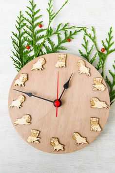 Unique wall clock Funny Pug Christmas gift for kid by MustHaveGift