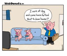 Dirty House cartoon,pigs
