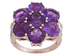 Stratify(Tm) 8.75ctw Round African Amethyst And .40ctw Round White Topaz 18k Rg Over S/S Ring
