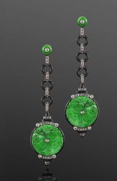 Carved Jade, Diamond and Black Enamel Pendant Earrings, circa 1920s