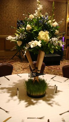 Baseball themed centerpiece with cross bats
