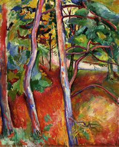 bofransson:  Trees, Autumn Emile-Othon Friesz - 1906 Raoul Dufy, Modern Artists, French Artists, Abstract Landscape, Landscape Paintings, Cross Stitch Supplies, Art Moderne, Henri Matisse, Art Auction