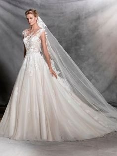 Romantic A-line ballgown wedding dress with delicate lace detailing by Pronovias - OFELIA