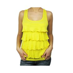 Ladies Fashion Sleeveless Ruffle Top Yellow ❤ liked on Polyvore featuring tops, yellow sleeveless top, sleeveless ruffle top, frill top, ruffle top and frilly tops