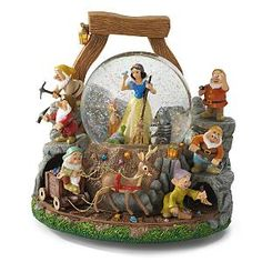 Snow White and Seven Dwarfs Whistle Will You Work  Snowglobe