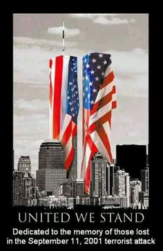 United we stand. American flag and World Trade Center World Trade Center, Trade Centre, I Love America, God Bless America, Awesome America, America America, 11 September 2001, Remembering September 11th, Tower Falling