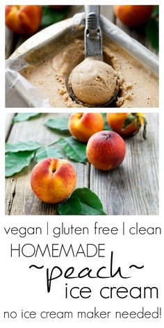 "Healthy Motivation : Illustration Description Homemade Peach Ice Cream – no machine needed! ""Sweat is fat crying"" ! Vegan Sweets, Vegan Desserts, Vegan Recipes, Cooking Recipes, Dessert Recipes, Dairy Free Ice Cream, Vegan Ice Cream, Eat Happy, Frozen Desserts"