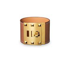 Hermes Extrême leather bracelet in natural tadelakt calfskin and gold-plated hardware