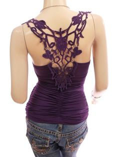 Patty Women Unique Crochet Eyelet Lace Back Ruched Clubwear Cami Tank Top. Patty. $26.99