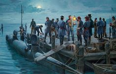 Preparation to launch Confederate Navy Submarine Hunley
