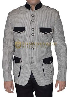 Indian lining safari 8 button blazer made from black and white color pure linen fabric. Designer Suits For Men, Black And White Colour, Blazer Buttons, Linen Fabric, Mens Suits, Safari, Indian, Shirt Dress, Pure Products