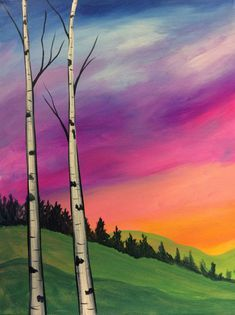 Meadow Morning rainbow sky birch tree painting. Beginner painting idea.