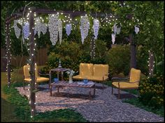 New patio set, contains 14 items. Features a wooden arbor with interwoven vines, hanging flowers, and strings of lights! Found in TSR Category 'Sims 3 Garden Sets' Sims 3, Sims 4 Game, Muebles Sims 4 Cc, Wooden Arbor, Sims 4 House Design, Sims Building, Sims 4 Cc Furniture, Sims 4 Build, Sims 4 Houses