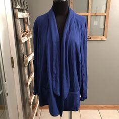 Sejour Cobalt Blue Rayon Spandex Open Front Draped Knit Cardigan Jacket Top 3X #Sejour #BasicJacket #CareerDress