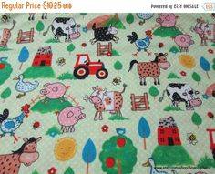 Your place to buy and sell all things handmade Doll Clothes Patterns, Clothing Patterns, Flannel Material, Kinds Of Fabric, Farm Animals, Things To Come, Kids Rugs, Quilts, Blanket