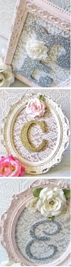 Sparkly Initial Picture Frame Wall Art - This is perfect decor for a baby girl nursery or a baby shower. I love the lace and the shabby chic picture frame around it. #babynursery #shabbychic #ad