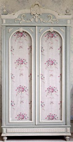 gorgeous painted, antique french style armoire with shabby chic floral fabric