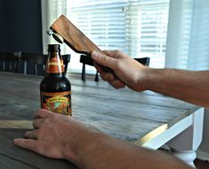 Learn how to make this rustic beer bottle opener.  A great gift idea for Dad!