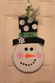 Snowman Face Door Hanger by LetterMeThis on Etsy, $45.00