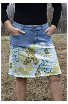 Sewing Clothes, Diy Clothes, Denim Crafts, Upcycled Crafts, Upcycled Clothing, Stretch Denim Skirt, Jeans Fabric, Jeans Rock, Women's Jeans