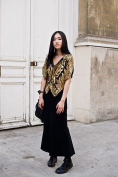 Vintage Gold and Black Butterfly Sequin Top