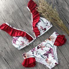Mujer Bikini Monocolor Floral Escote Estampado 2017 - $9.49