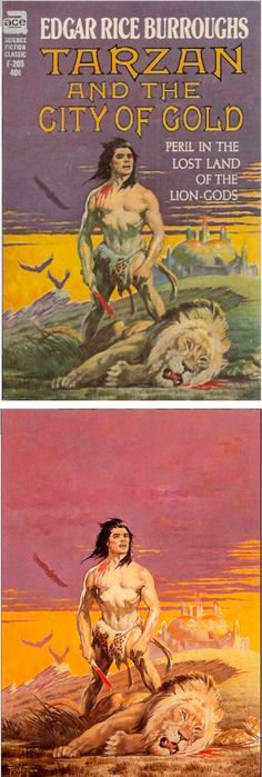 FRANK FRAZETTA - Tarzan and the City of Gold by Edgar Rice Burroughs - 1963 Ace F-205 - cover by isfdb - print by erbzine.com