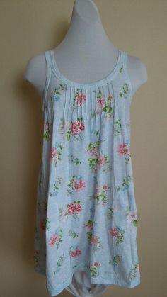 Carole Hochman S Sweet Blue Floral Short Nightgown Nightie 100% Cotton Pockets #CaroleHochman #Gown