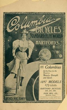 """cabbagingcove:    Awww…the earth is all fat and dumpy and losing because of the lady bicycling! I somehow doubt a bike company would imply that their bikes are """"better than Earth"""" these days.  1897 Official Souvenir Programme for…something. Can't find title page. >_>"""